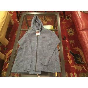Nike Tech Knit Blue Black Full Zip Split Back W L